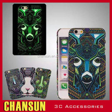 Special Design Luminous relief Animal Painted Hard PC Plastic Cell Phone Cover Case for Iphone 6 6S