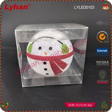 Christmas gift LED color change hand painted glass snowman glass ball Christmas home decor