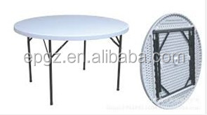 Popular Used Plastic Round Table with Folding Legs