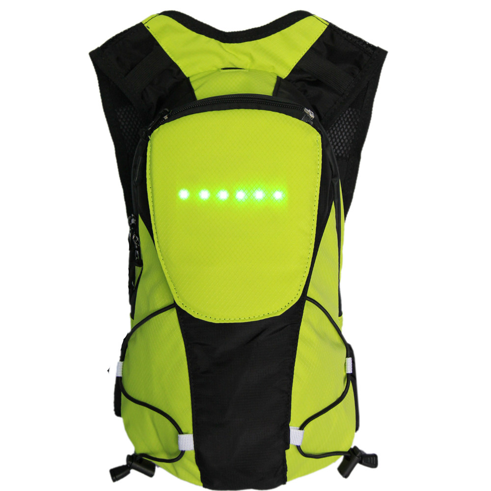 Bikeman 5L Wireless Control Light-up Warning Cycling Backpack (Lime)