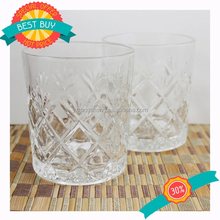 Factory outlets Round glass tea cup with flower ornamentation