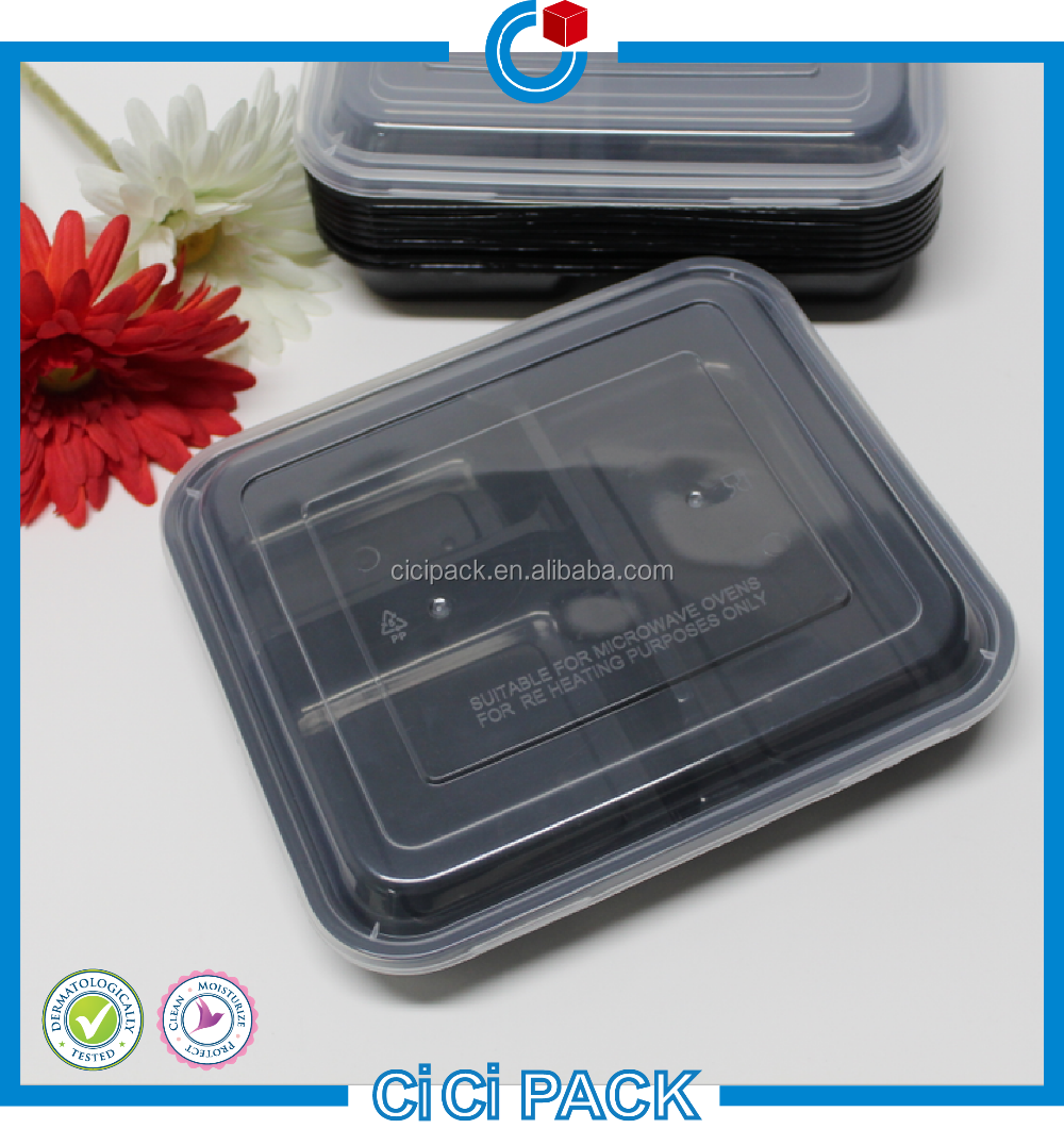 black food container / 3 compartment food container microwave safe