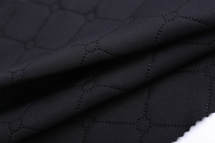 Free design black thick double jersey thick polyester brushed scuba knit emboss fabric uk