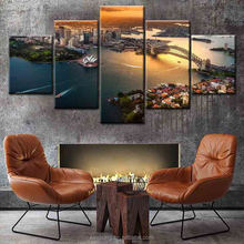 2017 Hot sale 5 panel landscape HD canvas print stretched canvas art painting with wooden frame