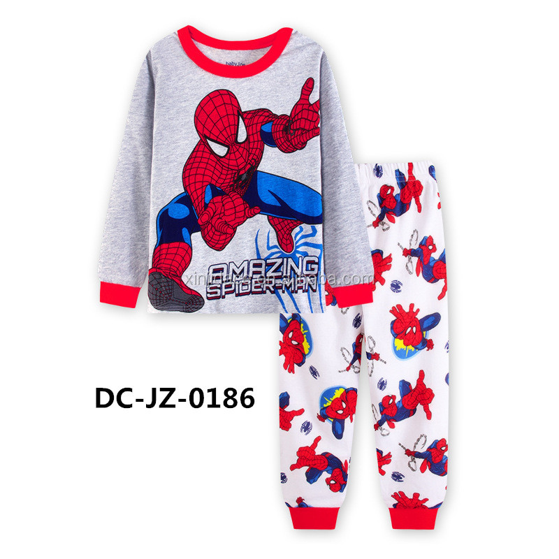 Spiderman pattern gray boys 100% cotton flannel pajamas