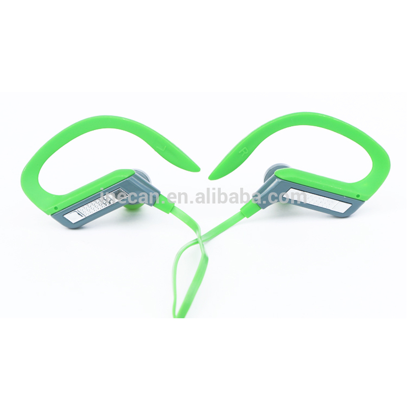 Green wired earhook headphones with 3.5h talk time