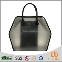 CSS1257-001 Hot sell Fashion transparent jelly bags TPU and black plain grain Leather handbags for women