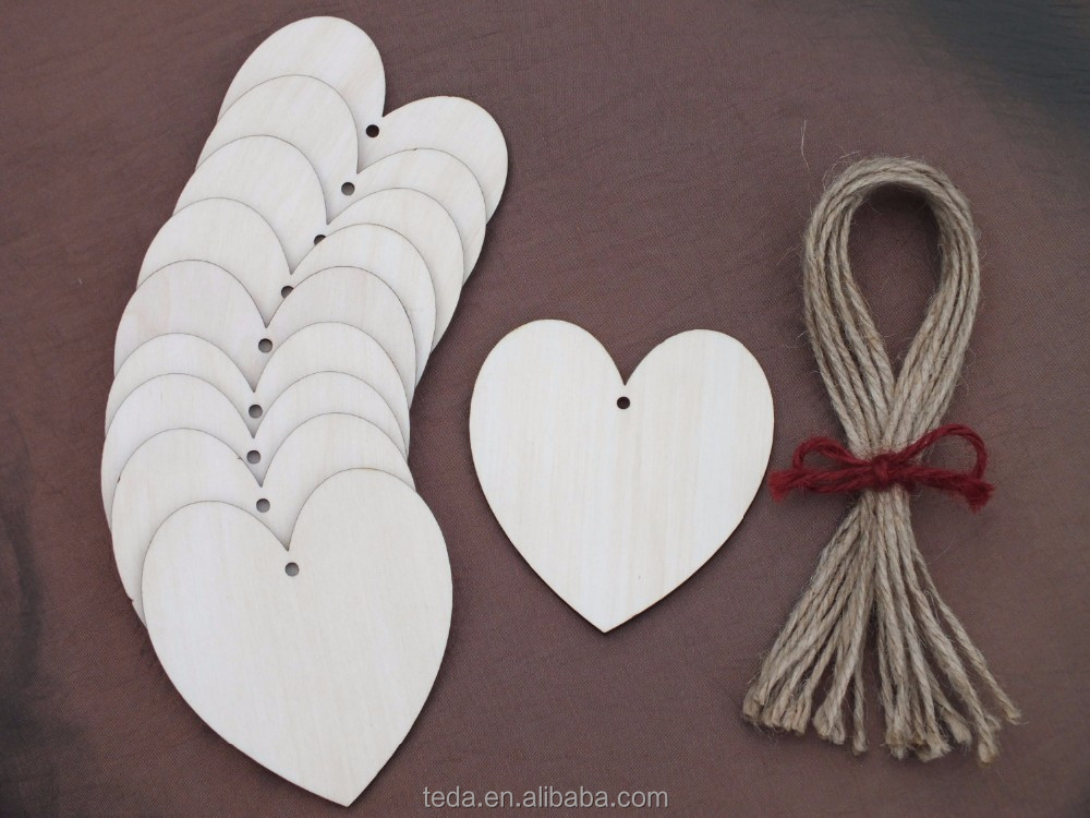 Simple DIY Wood heart love blank unfinished natural christmas crafts supplies