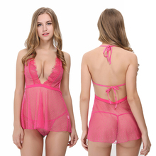 Cheap Paypal Intrigued Pink Halter Neckline Tie Back Babydoll With G-StringBlack Women Sexy Lingerie