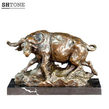 SHTONE Animal Sculptures TPAL-193 African Buffalo Home Decor Figurines Statue Art Bronze Statues