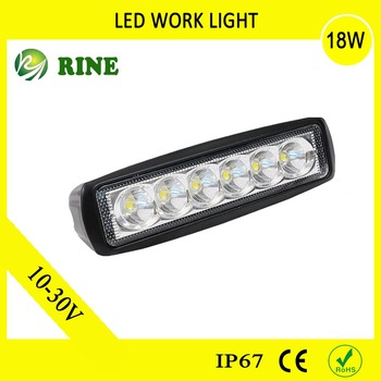 Auto Part Single Row 18W Led Work Light Bar For 4x4 Offroad Jeep SUV