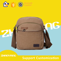 Polyester material popular college student messenger canvas shoulder bag for men