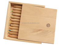 CE certificated free sample school pencil set mini pencil writing packing in wood box