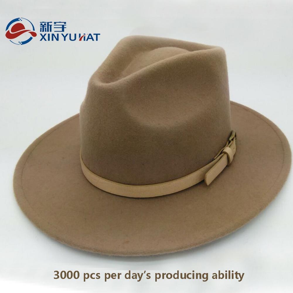 fashion camel men wool felt hat fedora with leather belt