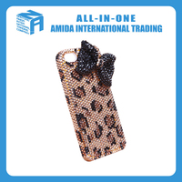 Leopard grain design rhinestone decoration cell phone cases with neck rope