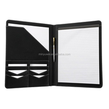 A4 size Black matte office conference PU folder with notepad Office Supplies Organizer Manager Document Pads Briefcase Padfolio