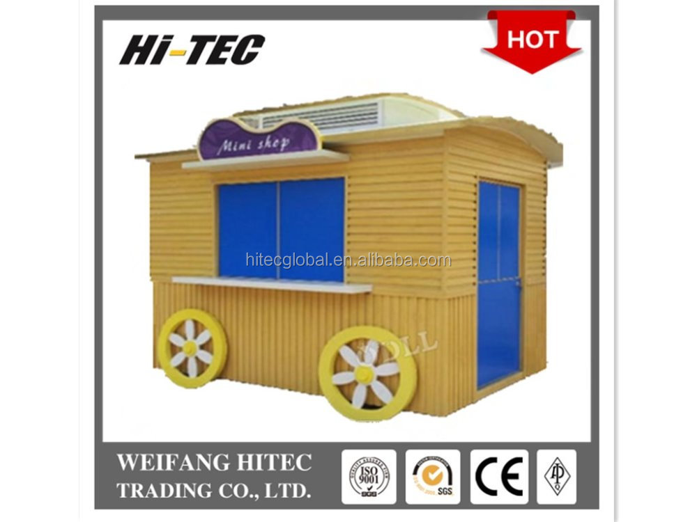 Environmental Protected Wooden Mobile Food Cart For Multifunctions