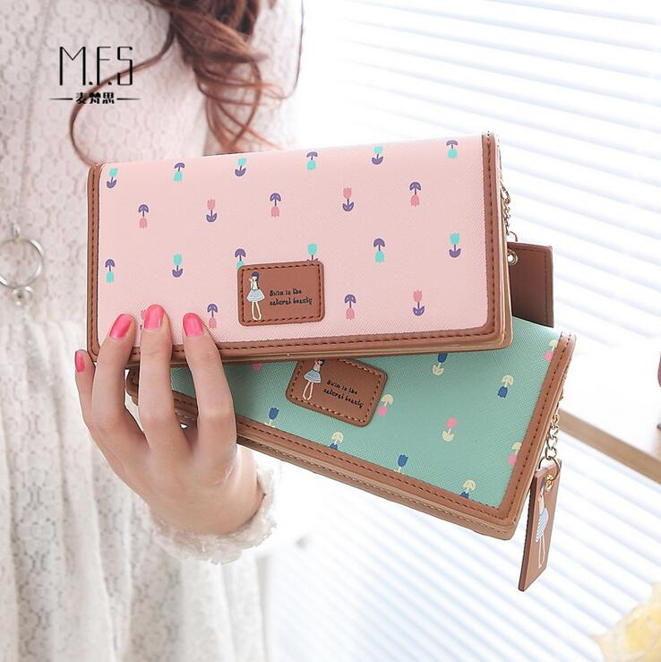 100pcs/lot new arrival cute girl flower design lady wallet fashion long size women purse wholesale price pu leather wallet
