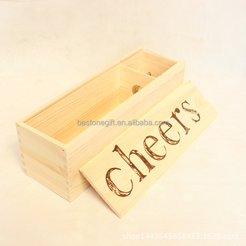 Manufacturers Supply Natural Wood Wine Box For 1 Bottle