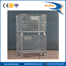 Supermarket security logistcis wire metal mesh pallet roll storage cage