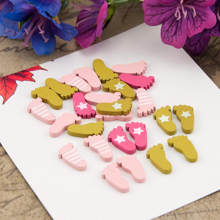 lovely mini wooden baby feet shapes laser cut color. Black Bedroom Furniture Sets. Home Design Ideas