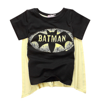 Stylish Summer Wear For Baby Cartoon Character Costume Kids T-shirt With Cape Free Shipping