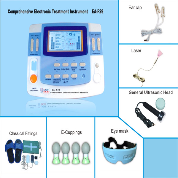 Electronic pulse massager with big LCD screen tens ear clips
