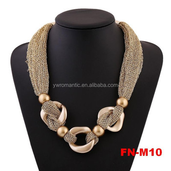 2015 factory wholesale newest gold design bead necklace