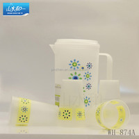 hot sale fashional wh874a plastic water cup and water pitcher with cups set