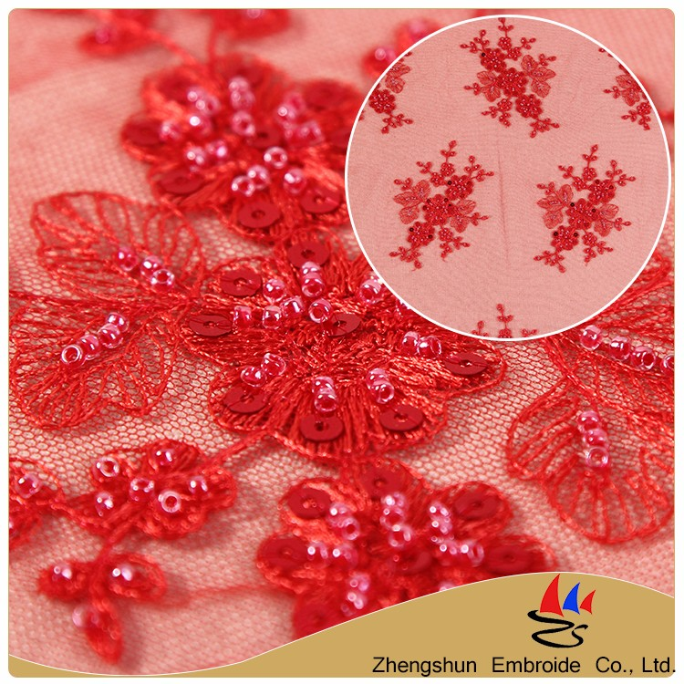 Alibaba supplier new product red flower embroidery 100 polyester mesh fabric lace