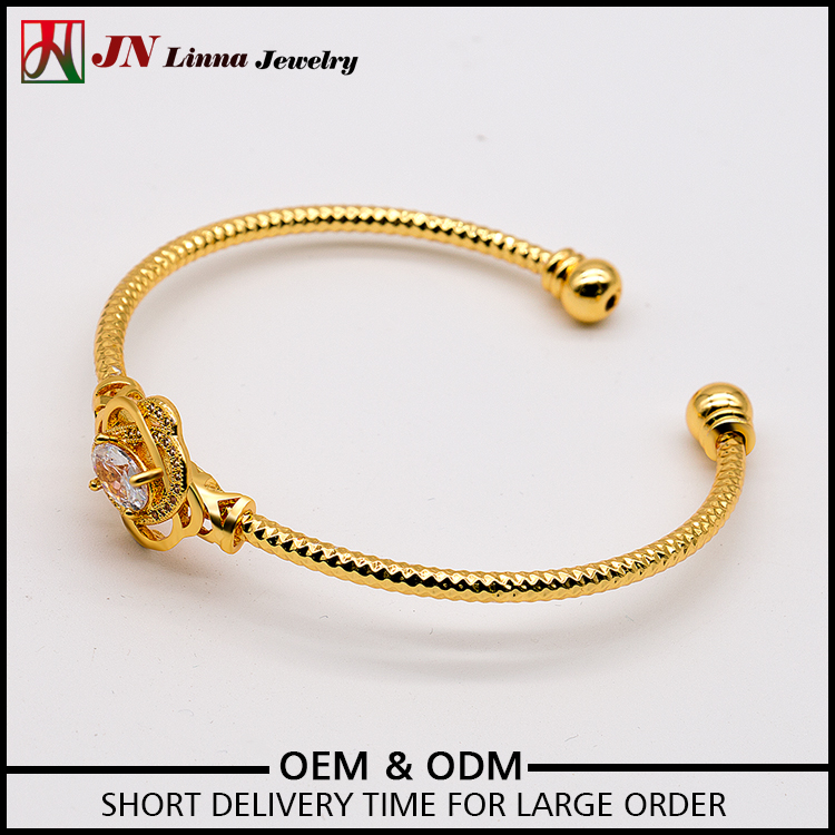 JN5008 Free sample gold plated copper flower cubic zircon women fashion bangle