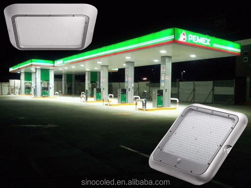 Canopy lights used to overhang at gas stations, supermarkets, schools, government buildings and parking