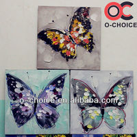 Newest design handpainted canvas butterfly oil painting
