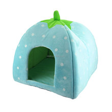 New Arrival Foldable Strawberry Shape Sponge Pet House Warm Bed Dog Cat Kennel L