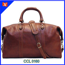 Travel Bag Saddle Brown Italian Leather Weekender Duffle
