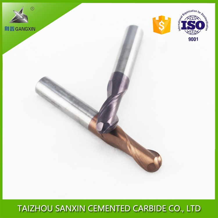 cemented tungsten carbide 2F ball nose end mill HRC 45 HRC55 milling cutter for aluminum processing