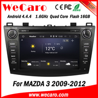 Wecaro Android 4.4.4 car dvd player touch screen sd card free map for mazda 3 WIFI 3G A9 cpu 1.6 ghz 2009-2012