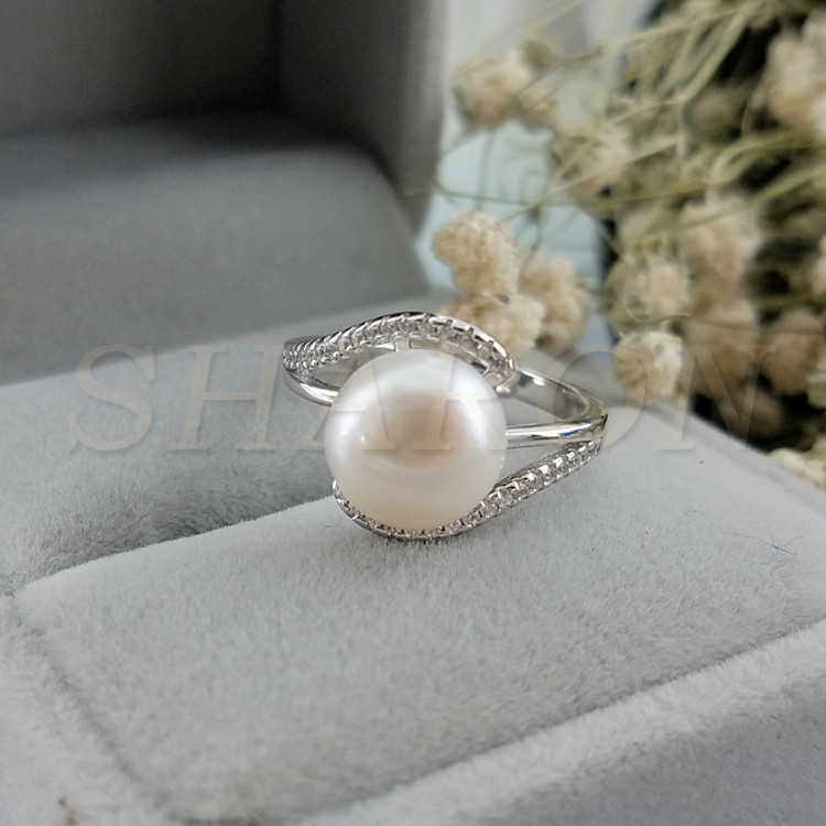 Antique Freshwater Pearl <strong>Diamond</strong> Accents Sterling Silver Adjustable Ring Settings