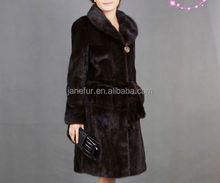 2017 New Design Long And High Quality Mink Fur Coat With Belt/Wholesale And Retail