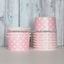 polka dot paper party Tableware Supplies YIWU Ice Cream Cups - Pink Polka Dot