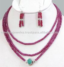 Excellent 120 Cm Long Single Strand Ruby Beads Jewelry Set