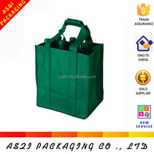 professional packing manufacturer customized non-woven 6 pack wine bag with reinforced long handles