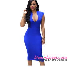 Royal Blue Low V Neck Knee Length Dresses Work Office Wear Clothing
