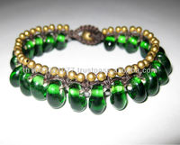 Bracelet Handmade Green Bubbles & Brass Beads in Thailand Fair Trade Jewelry