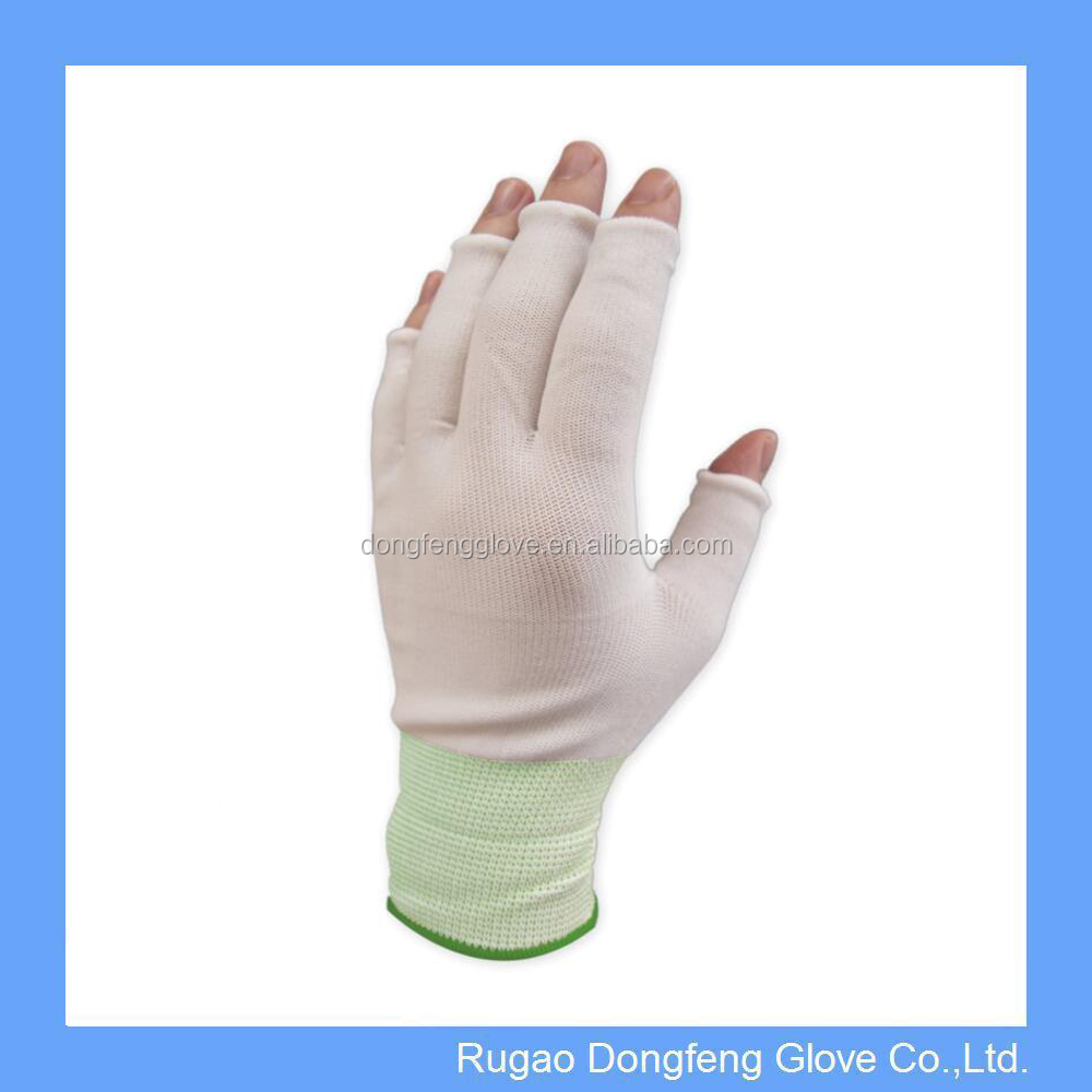 Nylon Half Finger Knit Glove Liner Cleanroom Workshop Gloves