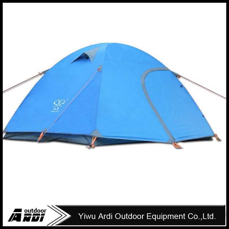 3-4 person double layer dual doors aluminum pole Outdoor Camping tent Four season Family Tents For adventure Tent