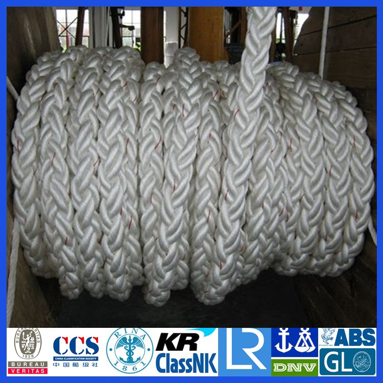 Dia. 120mm(15 inch)Nylon/polyamide/polyester(PE)/polypropylene(PP)/UHMWPE 8 strand core braided mooring rope