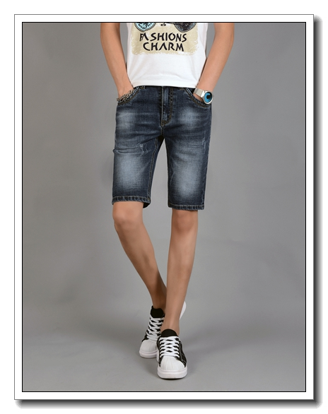summer fashion men's denim jeans shorts boys' capri pants for men