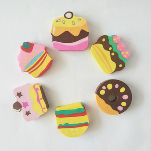Hot sale cake doughnut cartoon eraser for kids