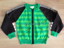 Children zipper front opening knitted sport cardigan sweater clothing